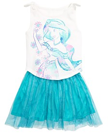 Disney Little Girls 2-Pc. Jasmine Tank Top & Printed Skirt Set, Created for Macy's