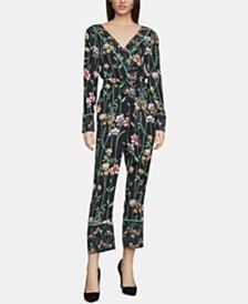 BCBGMAXAZRIA Floral-Print Faux-Wrap Jumpsuit