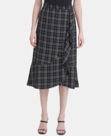 Calvin Klein Ruffled Plaid Midi Skirt