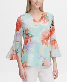 Calvin Klein Floral-Print Embellished-Sleeve Top