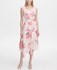 Calvin Klein Belted Floral-Print A-Line Dress