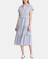 e472445ff0d5 Lauren Ralph Lauren Ruffle-Tiered Fit   Flare Cotton Shirtdress