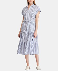 Lauren Ralph Lauren Ruffle-Tiered Fit & Flare Cotton Shirtdress