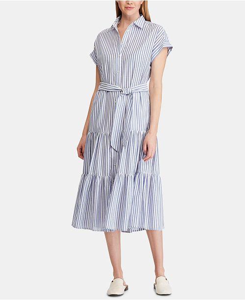 d521e44c39 ... Lauren Ralph Lauren Ruffle-Tiered Fit & Flare Cotton Shirtdress ...