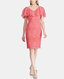 Petite Ruffled-Overlay Lace Dress