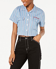Short-Sleeve Cropped Work Shirt