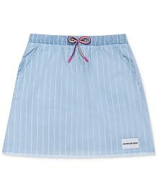 Calvin Klein Big Girls Cotton Striped Chambray Skirt