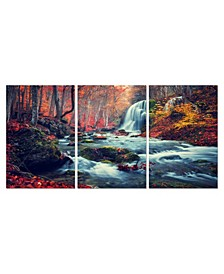 """Decor Autumn Forest 3 Piece Wrapped Canvas Wall Art -27"""" x 60"""""""