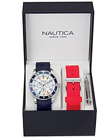 Men's NAD13502G NST 07 Multifunction Navy Silicone Strap Watch Box Set with Red Silicone Strap