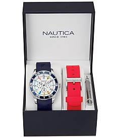 Nautica Men's NAD13502G NST 07 Multifunction Navy Silicone Strap Watch Box Set with Red Silicone Strap