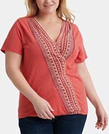 Lucky Brand Plus Size Mixed-Print Wrap Top