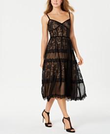 Tadashi Shoji Allover-Lace Bustier Dress