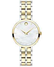 Movado Women's Swiss Kora Two-Tone PVD Stainless Steel Bracelet Watch 28mm
