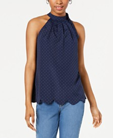 Maison Jules Printed Scalloped-Hem Halter Top, Created for Macy's