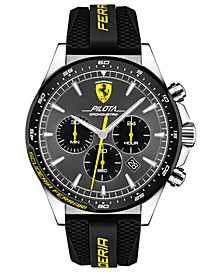 Men's Chronograph Pilota Black Silicone Strap Watch 45mm