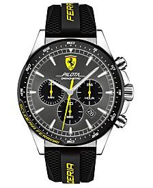 Ferrari Men's Chronograph Pilota Black Silicone Strap Watch 45mm