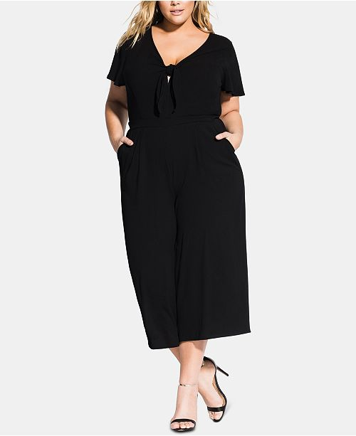 City Chic Trendy Plus Size Knot-Front Culotte Jumpsuit