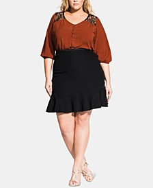 Trendy Plus Size Ruffled A-Line Skirt