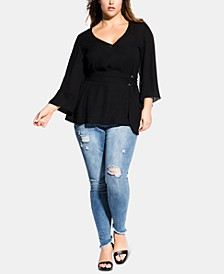Trendy Plus Size Belted Top