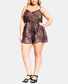 City Chic Trendy Plus Size Animal-Print Romper