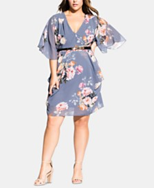 City Chic Trendy Plus Size Florence Belted Wrap Dress