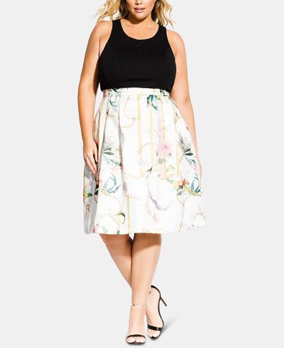 City Chic Trendy Plus Size Primavera Fit & Flare Dress