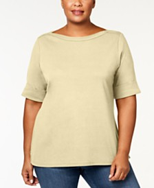 Karen Scott Plus Size Boatneck Top, Created for Macy's
