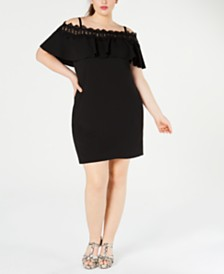 BCX Plus Size Trendy Plus Size  Off-The-Shoulder Crochet Dress