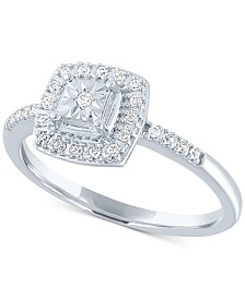 Diamond Cluster Halo Ring (1/8 ct. t.w.) in 10k White Gold