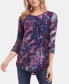 Karen Kane Tie-Dye Jacquard Shirttail-Hem Top