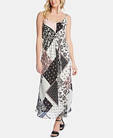 Sleeveless Mixed-Print Maxi Dress