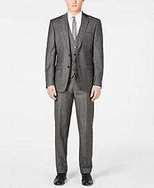 Men's X Slim-Fit Stretch Charcoal Mini Grid Suit Separates