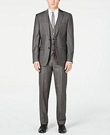 Calvin Klein Men's X Slim-Fit Stretch Charcoal Mini Grid Suit Separates