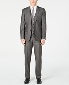 Calvin Klein Men's X Slim-Fit Stretch Charcoal Mini Grid Suit Separates