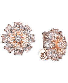 Anne Klein Crystal Flower Clip-On Button Earrings