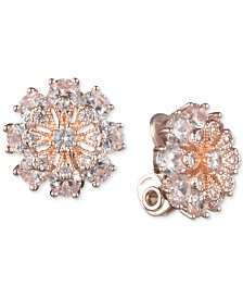 Anne Klein Crystal Flower Clip-On Button Earrings
