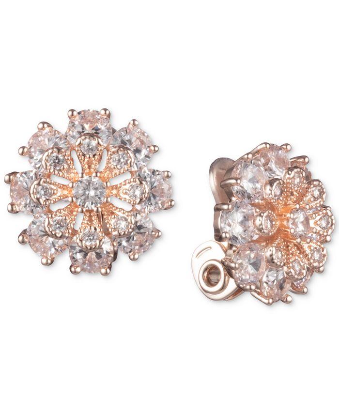 Anne Klein - Crystal Flower Clip-On Button Earrings