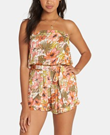 Billabong Juniors' Floral-Print Strapless Romper