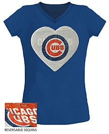 5th & Ocean Big Girls Chicago Cubs Flip Sequin T-Shirt