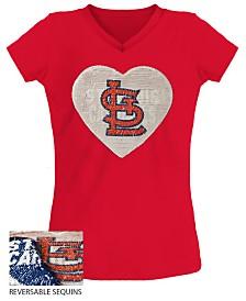 5th & Ocean Big Girls St. Louis Cardinals Flip Sequin T-Shirt