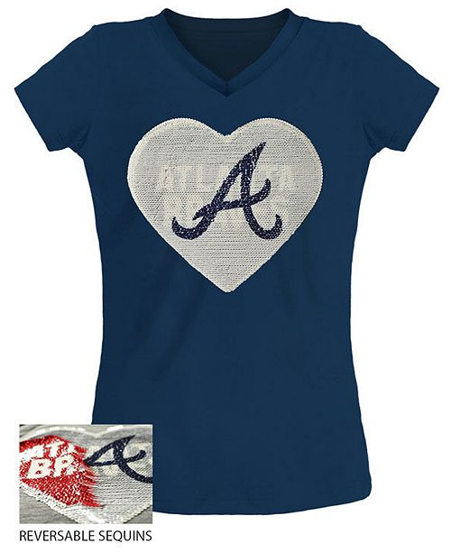 5th & Ocean Big Girls Atlanta Braves Flip Sequin T-Shirt