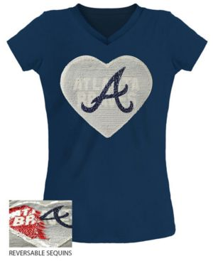 Image of 5th & Ocean Big Girls Atlanta Braves Flip Sequin T-Shirt