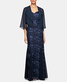 Petite Sleeveless Embroidered Gown & Chiffon Jacket