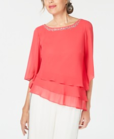Alex Evenings Embellished Tiered-Hem Blouse