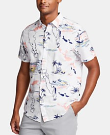 Nautica Men's Tropical Graphic Linen Shirt, Created for Macy's