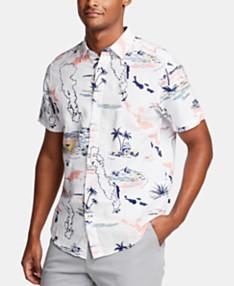 181304e36 Nautica Men's Tropical Graphic Linen Shirt, Created for Macy's