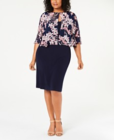 Connected Plus Size Floral Printed Jacket & A-Line Dress