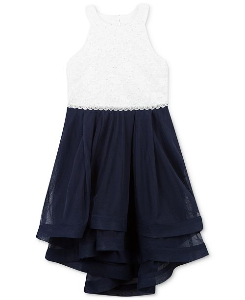 Speechless Little Girls Contrast Glitter Lace Dress