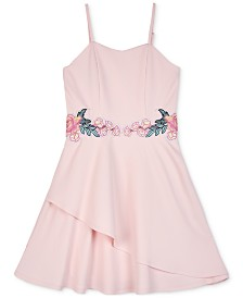 BCX Big Girls Floral Appliqué Skater Dress
