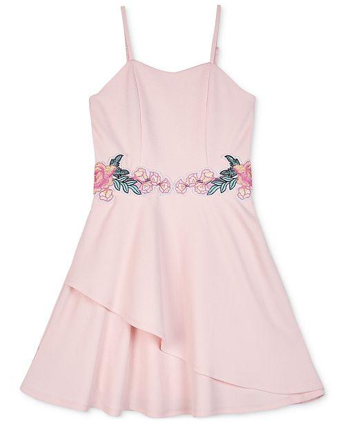 BCX Big Girls Floral Appliqué Skater Dress